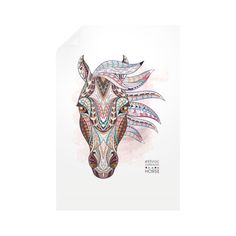Equestrian Art - Ethnic Horse Head - Vertical Wall Decals