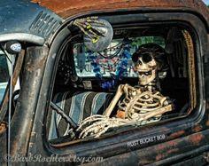 Vintage Truck Halloween - Retro Print - Vintage Truck Photography - Garage Art - Skeleton - Rust