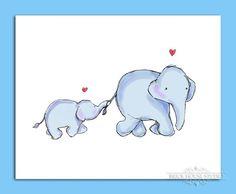 Nursery Room Wall Art Mama Elephant and Baby by BrickHouseStudio Image Elephant, Elephant Love, Elephant Art, Elephant Nursery, Baby Elephant Drawing, Baby Drawing, Nursery Room, Nursery Wall Art, Nursery Prints