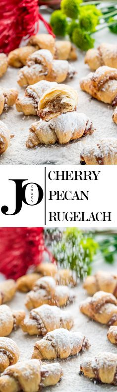 These cherry pecan rugelach cookies have a super buttery, flaky crust and are filled with cherry and pecans, perfect for this holiday season.