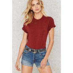 After Party by Nasty Gal Essential Tee ($29) ❤ liked on Polyvore featuring tops, t-shirts, red, crewneck t shirt, crew-neck tee, crew neck tee, cotton t shirts and red t shirt