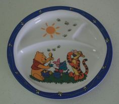 Disney Winnie the Pooh Children's Divided Plate 8 Inches - Pooh Tigger & Piglet #Disney