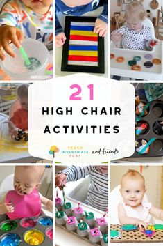 21 Highchair Activities for Tabies & Toddlers – Teach Investigate Play # indoor activities for 1 year old 21 Highchair Activities for Toddlers and Tabbies Activities For One Year Olds, Toddler Learning Activities, Infant Activities, Baby Learning Ideas, Summer Activities, Baby Messy Play Ideas, 1year Old Activities, Learning Activities For Toddlers, Art For Toddlers