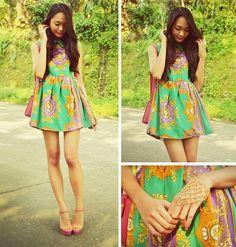 Scarf Print Dress, Cmg Colour Block Heels, Chain Ring Bracelet