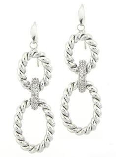 Unique, Ribbed Oval Dangle Earrings | Goldstock Jewelers