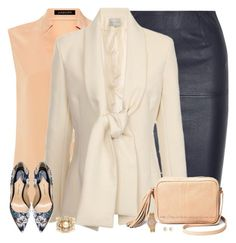 """Navy Leather Pencil Skirt"" by stay-at-home-mom ❤ liked on Polyvore featuring Jaeger, By Malene Birger, Lavish Alice, Paul Andrew, Miriam Haskell, Michael Kors, michaelkors, pearls and leatherskirt"