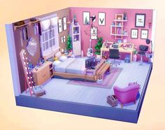 (3) 💕Makeup Artist Bedroom💕NoCC : TheSimsBuilding Sims 4 House Plans, Sims 4 House Building, Home Building Design, Sims 4 Loft, Sims 4 Anime, The Sims 4 Pc, Sims 4 Bedroom, Sims 4 House Design, Casas The Sims 4