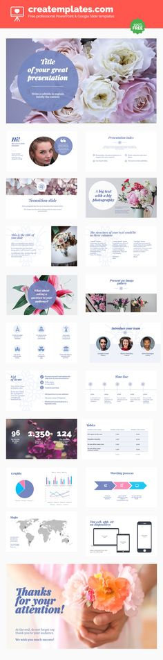 Floral: A professional and free template for Powerpoint and Google Slides with suggestive floral motifs.  A template that you can use for almost everything with elegant and neutral floral motifs. Use it for an invitation, a celebration or for a class presentation.