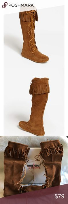 Minnetonka Moccasin Tall Boots Worn Once Sz8 w/box Minnetonka Moccasin Tall Boots Worn Once Sz8 w/box - Front Lace Knee High - Brown Minnetonka Shoes Moccasins