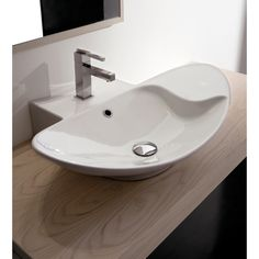 Bathroom Sink, Scarabeo 8201, Oval-Shaped White Ceramic Wall Mounted or Vessel Sink 8201