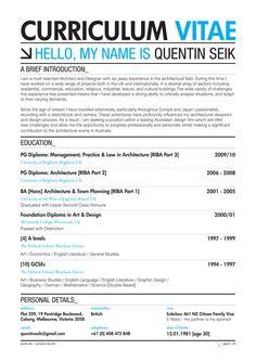 Quentin Seik: Curriculum Vitae 2011 on Behance