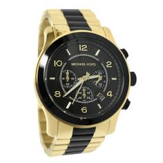 fa7762bb6a1 Michael Kors Mens Watch Runway Two Tone Chronograph Stainless Steel Case and  Bracelet Black Tone Dial