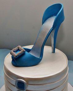 Blue high heel shoe