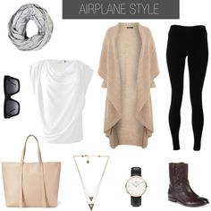 Love the white shirt (if not see through) Easy Airport Style Essentials. What to wear for women when traveling, and on the plane. Flying outfit for women. Mode Outfits, Fall Outfits, Fashion Outfits, Womens Fashion, Fashion Boots, Fashion Weeks, Travel Wear, Travel Style, Travel Fashion