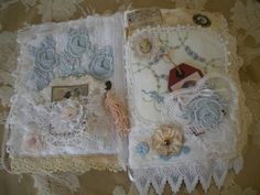 Lace and fabric journal page