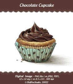 Printable Digital Illustration for DOWNLOAD  Chocolate by DidiFox, $6.50
