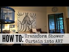 How to make a shower curtain wall art – DIY projects for everyone! Diy Wooden Wall, Diy Wall Art, Wooden Walls, Diy Wand, Shower Curtain Art, Shower Curtains, Big Blank Wall, Diy Art Projects, Cool Walls