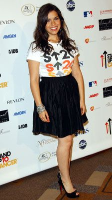 America Ferrera does a graphic tee and flirty skirt SO beautifully.