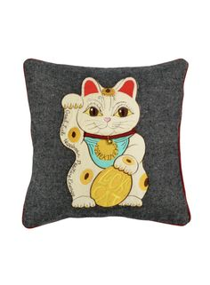 A Loja do Gato Preto   Capa de Almofada Maneki Neko Branco #alojadogatopreto