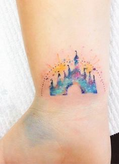 Disney Castle Watercolor Tattoo - MyBodiArt.com