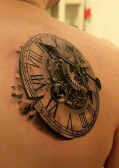 Amazing 3D Steampunk Clock Tattoo