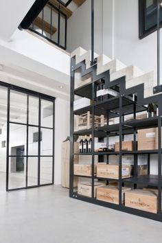 Modern Style Décor: Under the Stairs Wine Storage for Original Wine Crates & Boxes