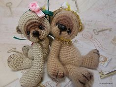 Miniature Thread Crochet Bear 4 inches digital от ChantalBears, $19.00