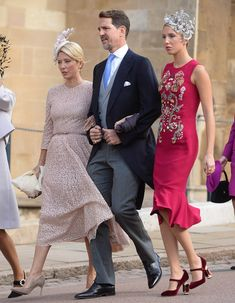 Also in attendance were Crown Prince Pavlov of Greece and his wife Crown Princess Marie Chantal, who were joined by their glamorous daughter, Princess Marie-Olympia, who wore a pink fishtail frock with velvet Mary-Jane shoes Princesa Eugenie, Marie Chantal Of Greece, Olympia, Eugenie Wedding, Greek Royalty, Greek Royal Family, Structured Dress, Royal Weddings, Royals