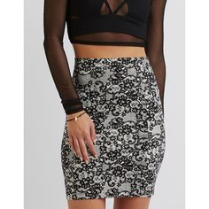 Charlotte Russe Printed Bodycon Mini Skirt ($6.59) ❤ liked on Polyvore featuring skirts, mini skirts, floral mini skirt, bodycon skirt, body con skirt, charlotte russe and charlotte russe skirts