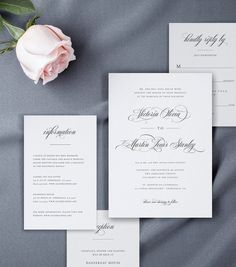 Wedding Invitation Suite with Beautiful and Delicate Script Font, Details Card, Reception Card, Response Card, by AliceBluefox on Etsy Wedding Invitation Kits, Simple Wedding Invitations, Invitation Suite, Online Print Shop, Reception Card, Response Cards, Childrens Party, Card Templates, Online Printing