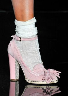 runway trend- heels with socks | pink fashion-Heels with socks, oh good, the 80's are back-but I do love the shoes.