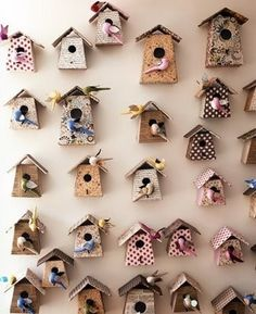 Wall of Birdhouses .... so cute! :)