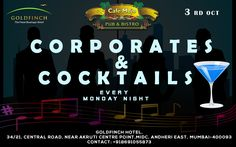 Corporates & Cocktails, a fabulous party to exhilarate yourself from the weekday woes. Our delightful range of Cocktails & Food at Cafe Mojo Mumbai makes a perfect place for you to relax and relish your Monday Night. #Pubs #Party #Beer #Fun #Beers #Enjoy #GoodTimes #OntheBar  #Parties #PartyMusic #DrinkLocal #Music #Dance #Pub #Drinks #EatLocal  #BeerDrinks #Mumbai  #OnthePub.