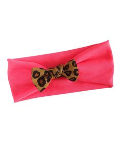 Look at this Bright Pink & Leopard Bow Headband on #zulily today!