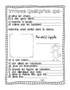 French First day week activities get to know students and teacher: