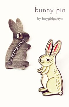 Bunny Enamel Pin by boygirlparty: http://shop.boygirlparty.com/collections/_new/products/bunny-pin-rabbit-pin-bunny-enamel-pin-by-boygirlparty?variant=19146643527