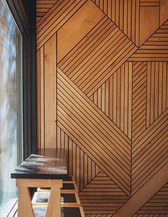 Idea for room divider btw tasting and event spaces Interesting wood wall design