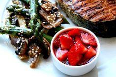 salmon with asparagus salad and strawberry salsa