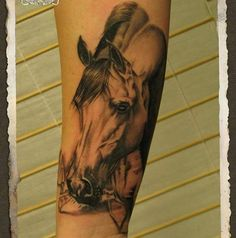 Incredible realistic horse tattoo by @ tattoo.mato www.tattoo-mato.com
