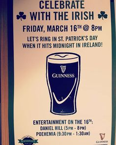 Just four more days until Chri...St Patrick's Day! With yours truly and Pohemia ringing it in at @osullivansirishpub #stpatricksday