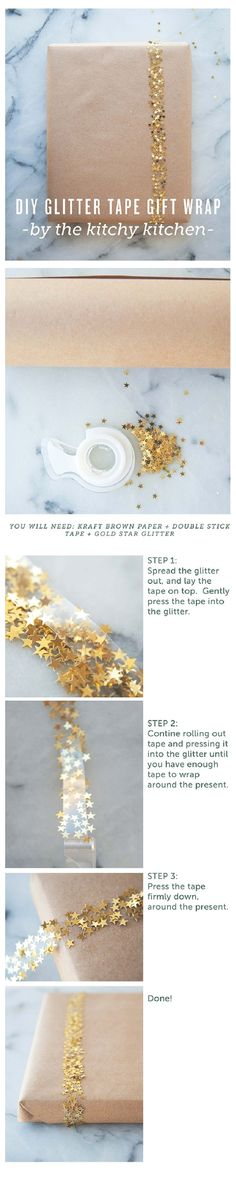 DIY Gift Wrap with Glitter Tape - 16 Fun-filled DIY Birthday Gift Wrapping Ideas to Surprise Your Loved Ones