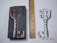 Old Letterpress Block, Fancy Skeleton KEY