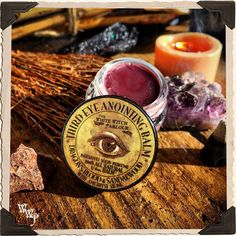Third Eye Anointing Balm. 1/4 oz. All Natural Patchouli, Sandalwood & Dragon's Blood Solid Perfume. Blessed by Amethyst.