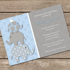 Stacked Blue Elephants Baby Shower Invitation DIY Printable. $14.55, via Etsy.