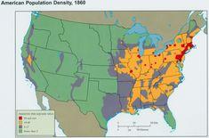 Map of U.S. population density in 1860