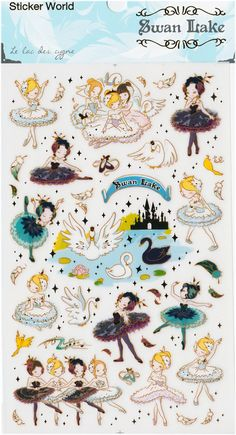 Korean Scrapbook Gold Foil Transparent Stickers - Swan Lake (STNO05025)