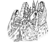 Indian woman tradition sail - India & Bollywood Coloring Pages for Adults - Just Color - Page 2 Dance Coloring Pages, Free Coloring Pages, Coloring Books, Free Adult Coloring, Coloring For Kids, Dark Art Drawings, Indian Folk Art, Indian Art Paintings, Bollywood