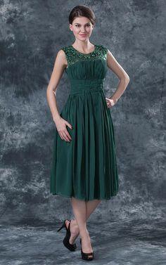 Natürliche Taile Juwel Ausschnitt gerüschtes Chiffon Brautmutterkleid/ Abendkleid