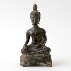 A Bronze Figure of Buddha Shakyamuni, Laos C. Naive, Asian Art, Laos, Buddha, Curly Hair Styles, Meditation, It Cast, Bronze, Statue