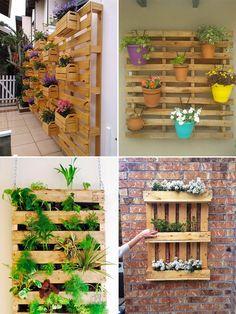 DIY: móveis feitos com pallets - Casinha Arrumada Vertical Pallet Garden, Vertical Garden Design, Pallets Garden, Wood Pallets, Small Backyard Gardens, Diy Planters, Pallet Planters, Planter Ideas, Flower Planters